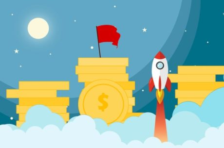 Cartoon image of stacks of coins and rocket taking off