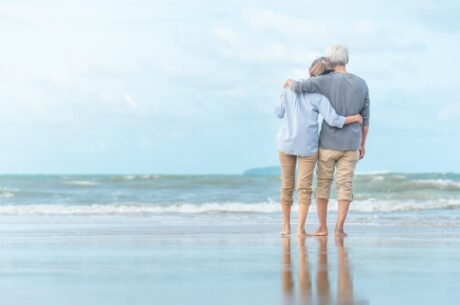 Frequently Asked Questions About Social Security Retirement Benefits shows couple rest at tropical resort