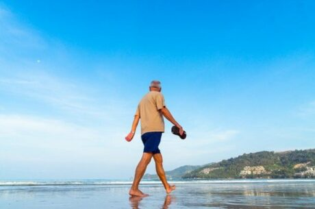 Social Security and Government Pensions: The Windfall Elimination Provision Depicts Elderly Man Walking on Beach